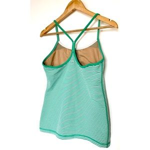 Lululemon Power Y Green and White Striped Tank